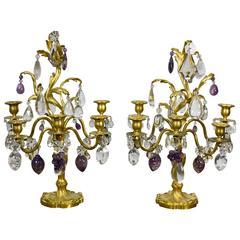 Pair of Louis XV Style Rock Crystal Girandoles