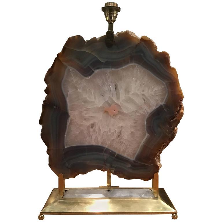 Italian Retro Illuminated Fossil Table Lamp For Sale