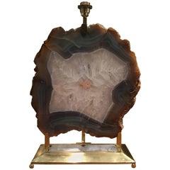 Italian Retro Illuminated Fossil Table Lamp, Made in Italy 2000's