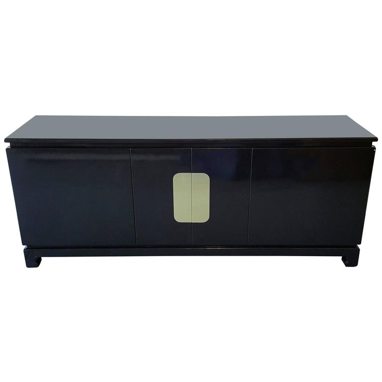 1970s Black Lacquer and Brass Credenza in the Style of James Mont