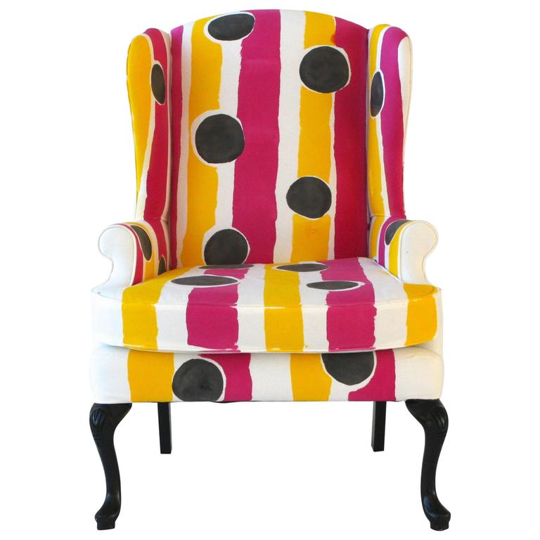 Hand-Painted Wing Chair For Sale