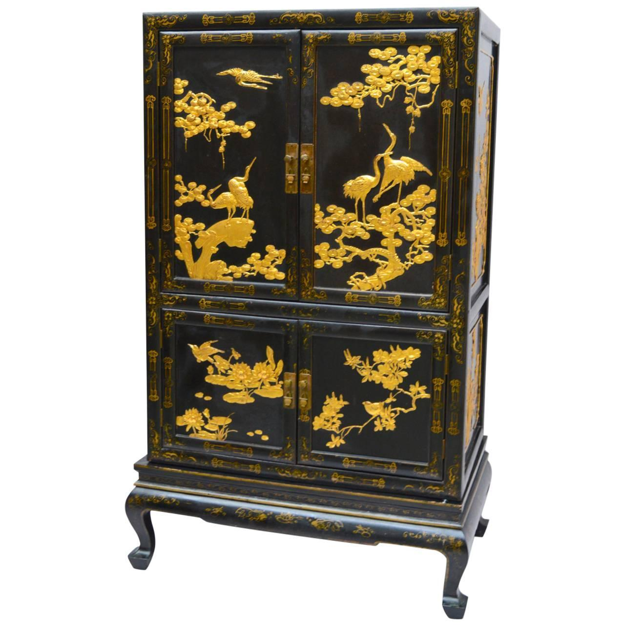 Black And Gold Lacquered Chinese Export Cabinet On Stand