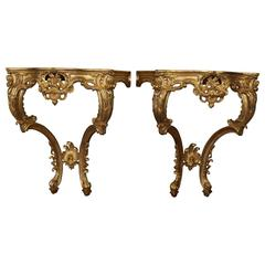 Pair of Rococo Style Giltwood Consoles Reproduced by La Maison London