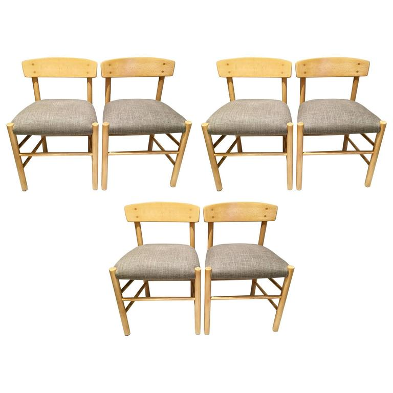 """Set of Six Newly Upholstered Borge Mogensen J39 """"People's Chairs"""""""