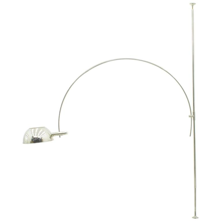 Silver ceiling to floor lamp with adjustable arc by florian schulz 1970s for sale