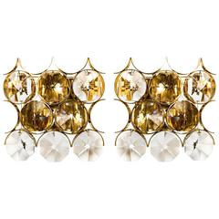 Pair of Palwa Sconces Wall Lights in Gilded Brass with Large Crystals, 1960s