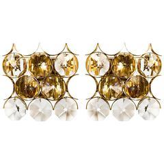 Paar Palwa-Wandleuchten aus vergoldetem Messing mit großen Kristallen, 1960er Jahre