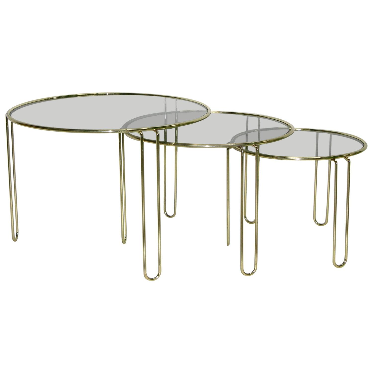 1970s Italian Minimalist Set Of Three Brass Smoked Glass Round Nesting  Tables