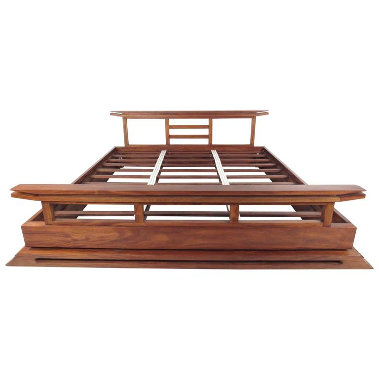 Contemporary Modern Solid Teak King Size Bed Frame At 1stdibs
