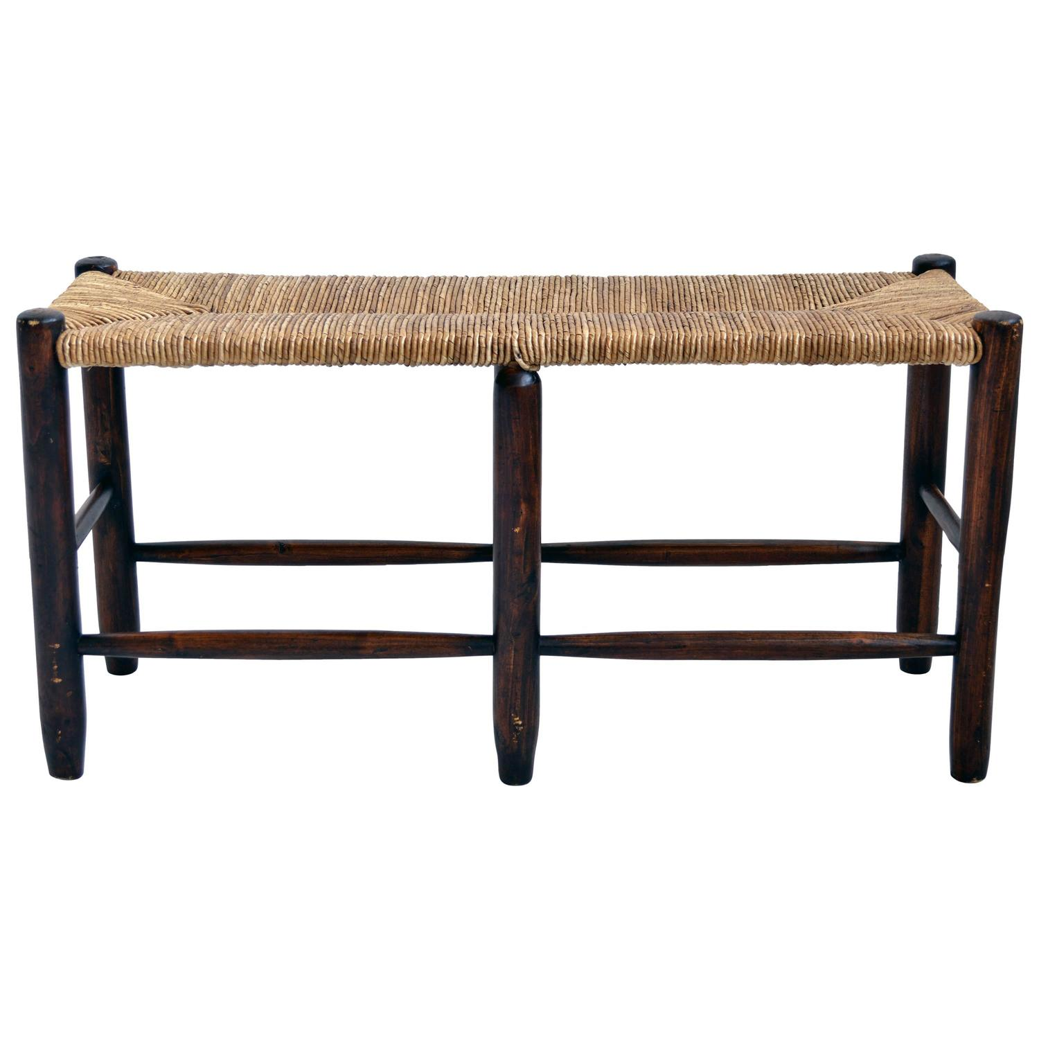 Wood Bench With Woven Rush Seat For Sale At 1stdibs