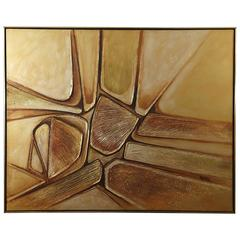MacMillan, Untitled, 1970s, Large Abstract Acrylic on Canvas in Gold Tones
