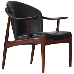 Scandinavian Armchair in Rosewood and Black Leather Upholstery