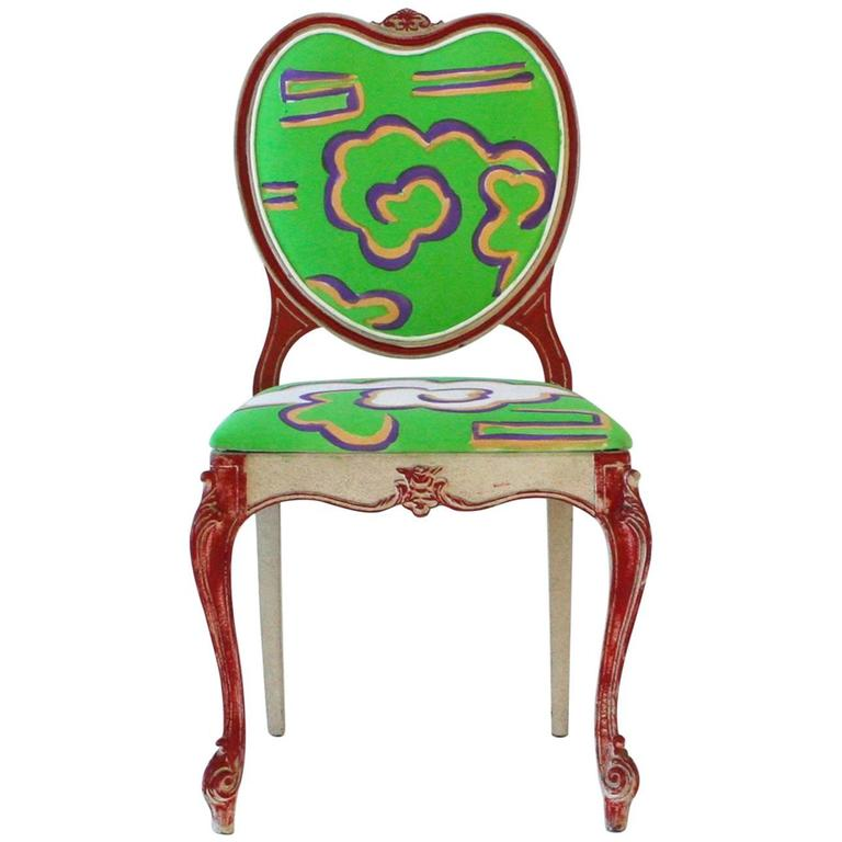Hand-Painted Victorian Style Heart Chair For Sale