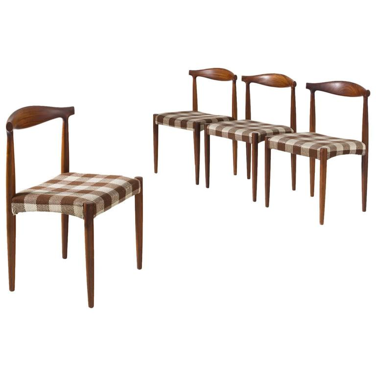 Set of Four Danish Dining Room Chairs in Rosewood  1