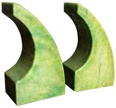 Chartreuse Marble Bookends, Italy, 1950s