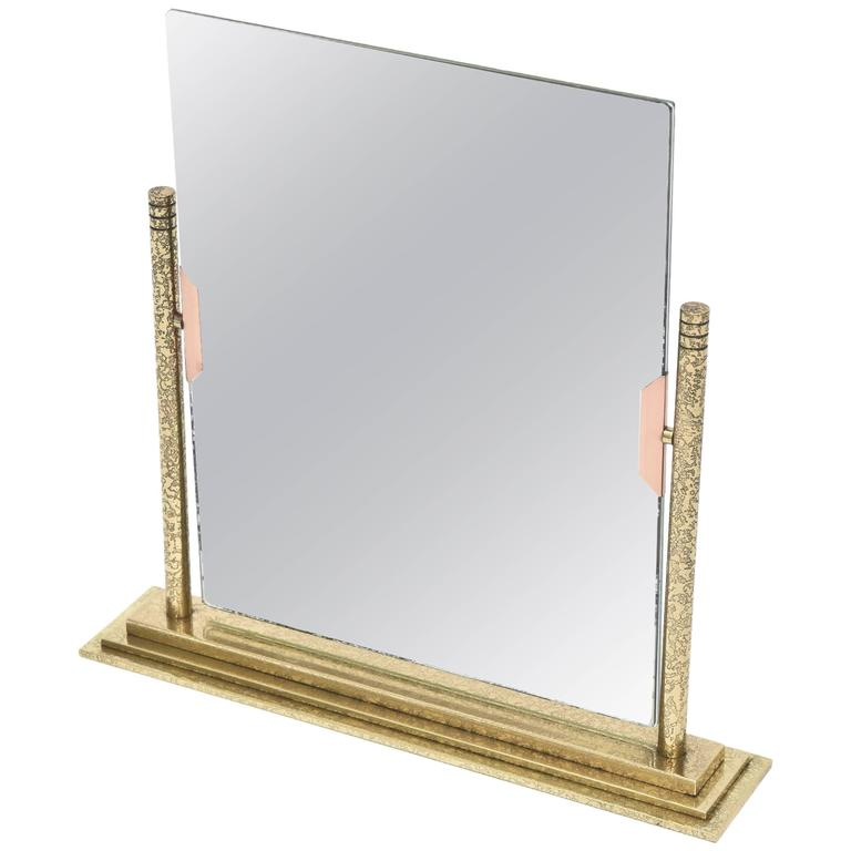 Bronze and Brass Vintage Dual Picture Frame and Mirror For Sale