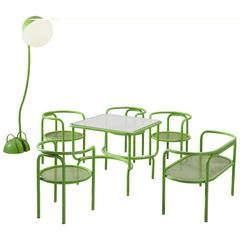 Gae Aulenti Locus Solus Green Colored Metal Dining Room Set
