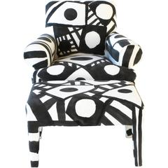 Hand-Painted Lounge Chair with Ottoman