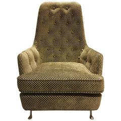 1950s Button-Tufted Armchair with Metal Feet and Spring Cushion