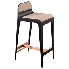 Bardot Counter Stool in Black and Satin Copper with Nude Leather