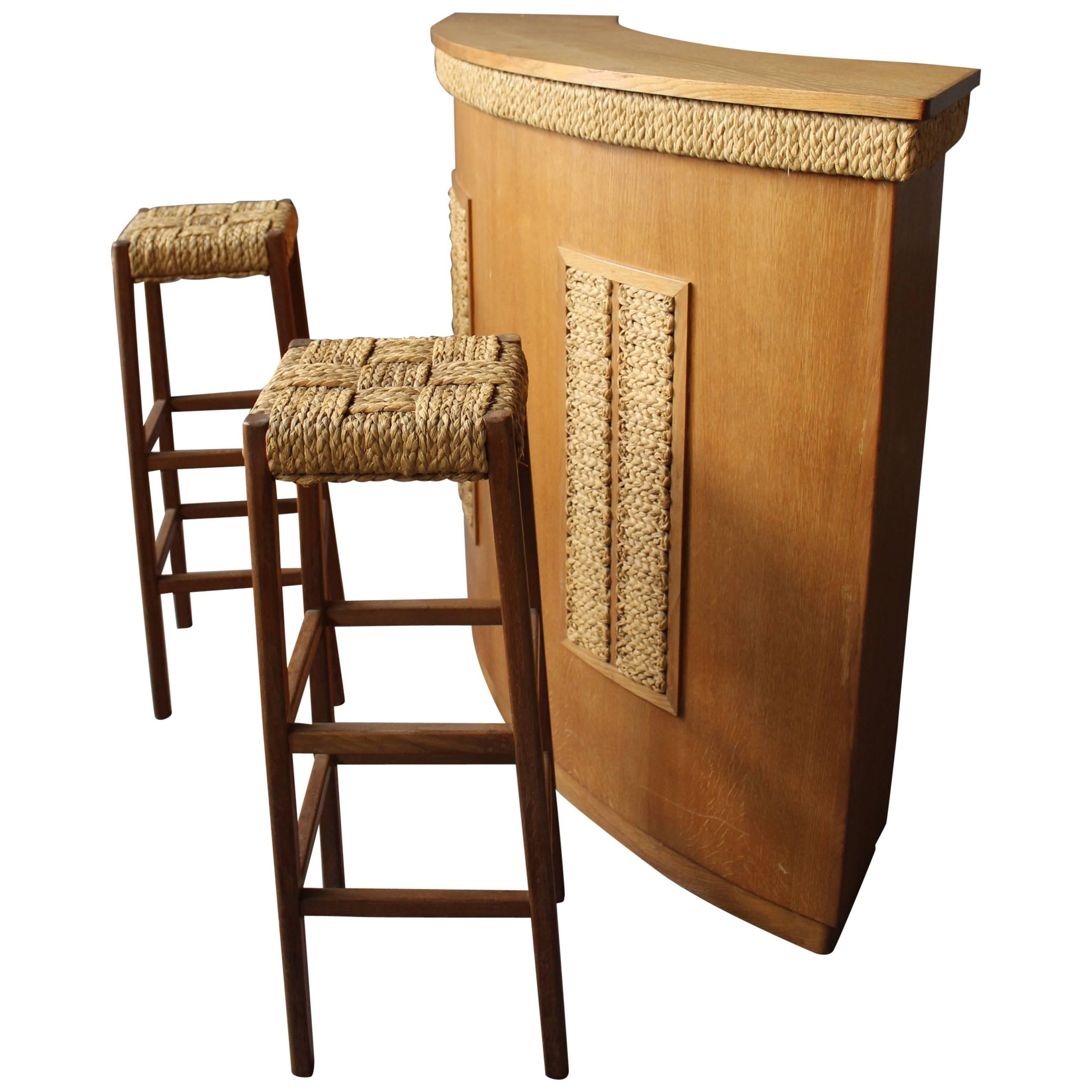 Fine French 1950s Oak And Rope Bar Two Stools By Audoux Minet At 1stdibs