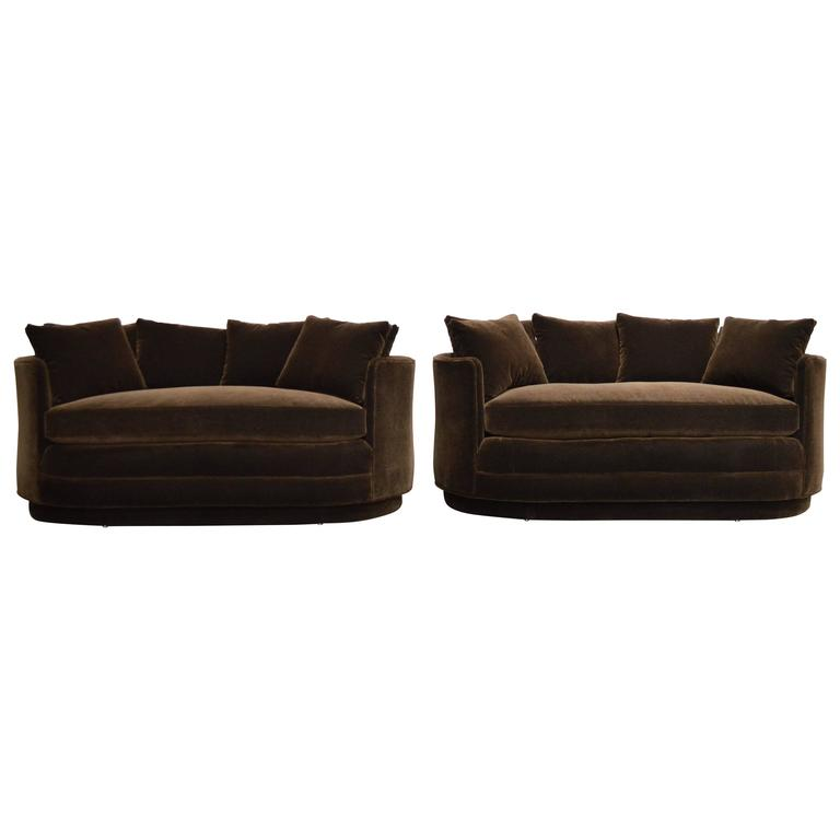 Pair Of Vintage Curved Loveseat Sofas In Chocolate Brown Mohair For Sale At 1stdibs