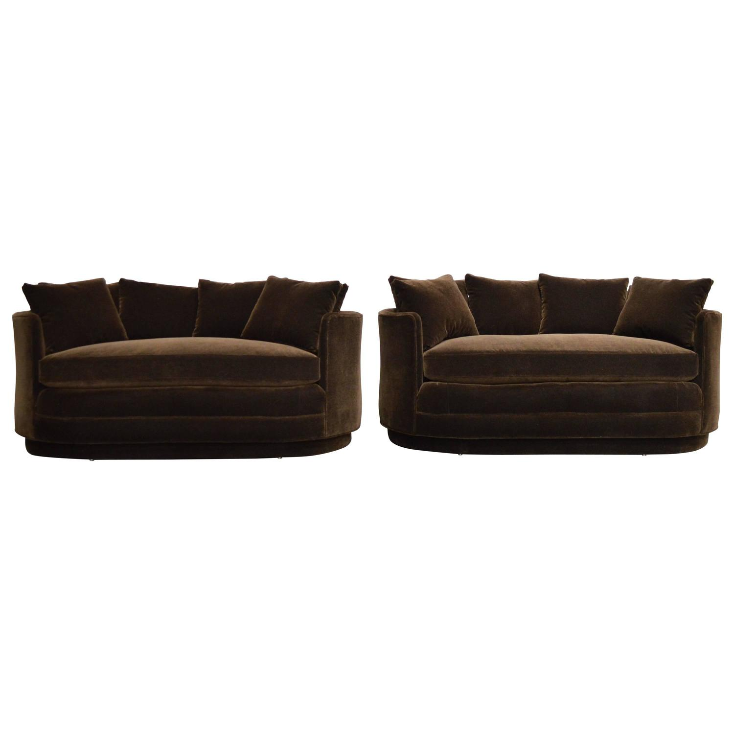 pair of vintage curved loveseat sofas in chocolate brown mohair  - pair of vintage curved loveseat sofas in chocolate brown mohair for sale atstdibs