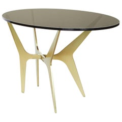 Dean Oval Side Table in Satin Brass, Copper, and Black Steel with Glass Top