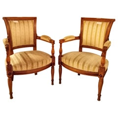 Pair of Louis XVI Style Armchairs Manner of Jansen
