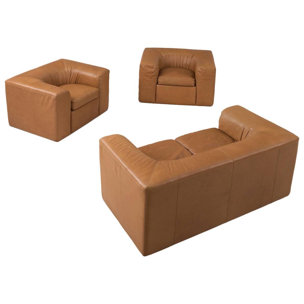 Cognac Leather Living Room Set For Sale At 1stdibs