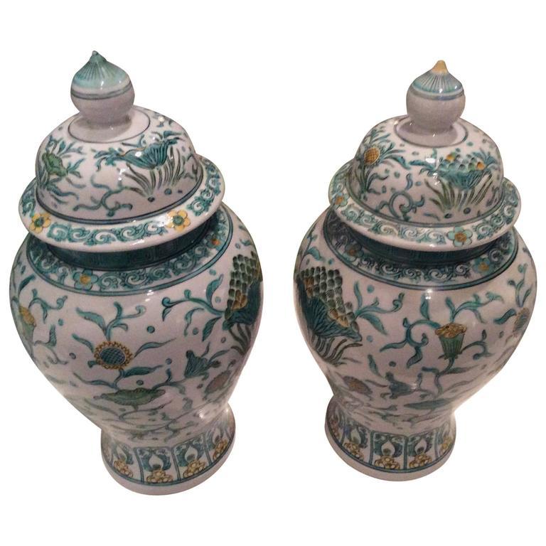 Pair Vintage Ginger Jar Green Asian Oriental Greek Key Hollywood Regency Japan