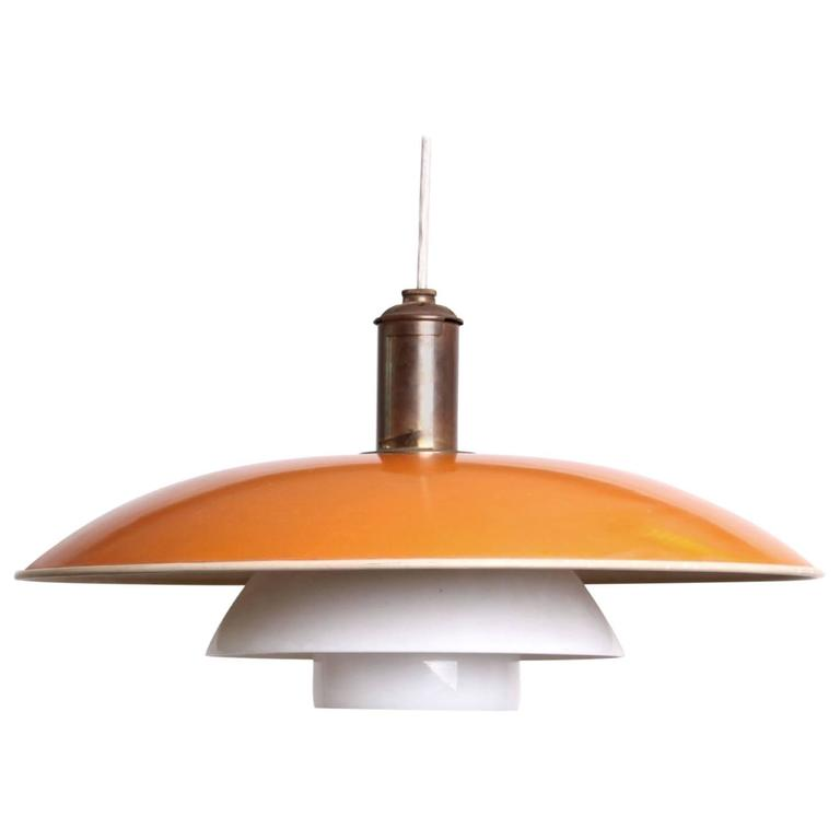 Poul Henningsen PH 5/4 Pendant in Yellow Enameled Metal and Opaque Glass