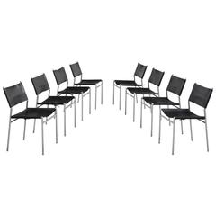 Martin Visser Set of 8 Dining Room Chairs in Original Black Leather