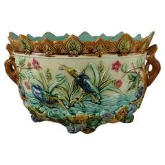 19th Century Majolica Pond W. Kingfishers Jardiniere, Onnaing