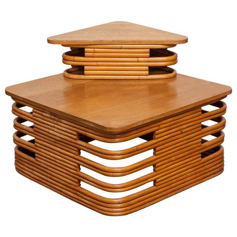 Corner tables furniture Pedestal Twotier Stacked Rattan Corner Table By Paul Frankl For Sale Angels4peacecom Twotier Stacked Rattan Corner Table By Paul Frankl For Sale At 1stdibs