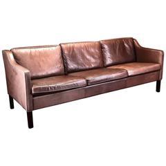 Three-Seater Børge Mogensen Style Brown Leather Sofa by Mogens Hansen