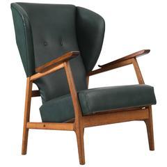 Scandinavian Wingback Chair in Teak and Dark Green Upholstery