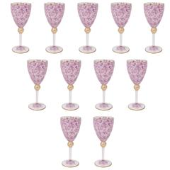 11 Vintage Venetian Goblets, Tall with Hand Enameling and 24-Karat Gold