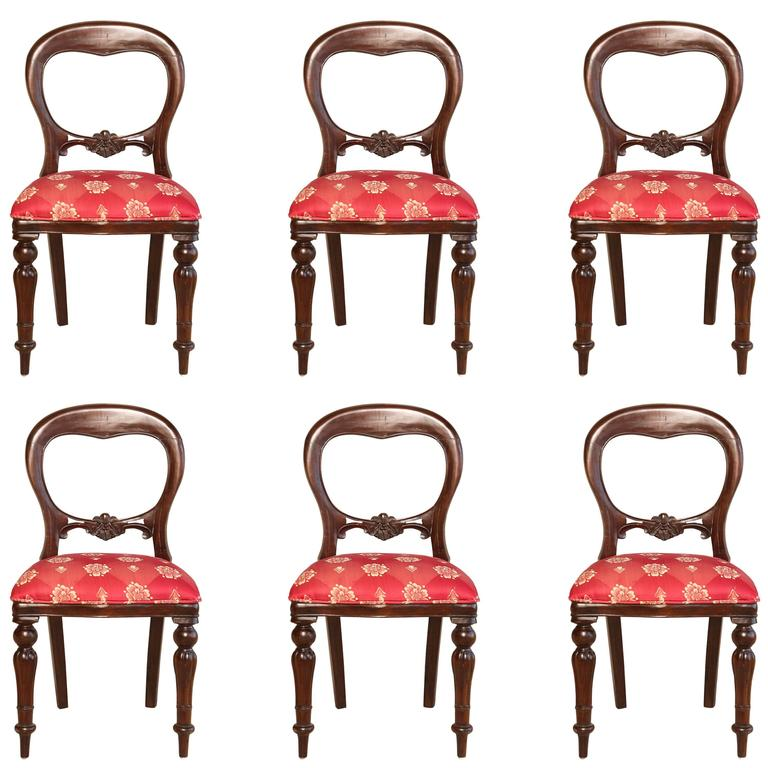 Set of Six Regency Style Dining Room Chairs, Mahogany with Red Gold Upholstery
