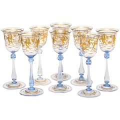 Eight Tall and Elegant Antique Venetian Wine Goblets, Hand-Painted 24-Karat Gold