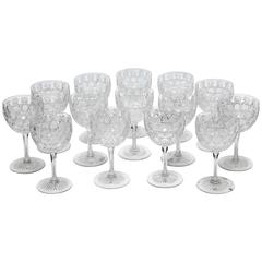 14 American Brilliant Cut-Glass Wine Goblets, Russian Pattern, Antique