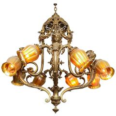 Impressive Gilt Bronze Chandelier, Detailed Figural Motif With Art Glass Shades
