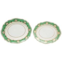 Set of Two Large & Medium Vintage English Green Gold Platters, Shell Cartouches