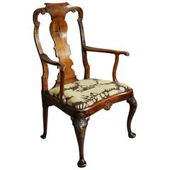 Dutch Late 19th Century Walnut and Beech Armchair in the 18th Century Style