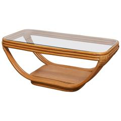 Rattan and Glass Coffee Table by Paul Frankl