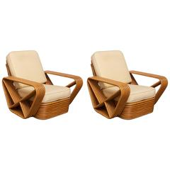 Pair of Six-Strand Pretzel Lounge Chairs by Paul Frankl