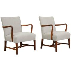 Pair of 1950s Danish Armchairs in the Manner of Jakob Kjaer
