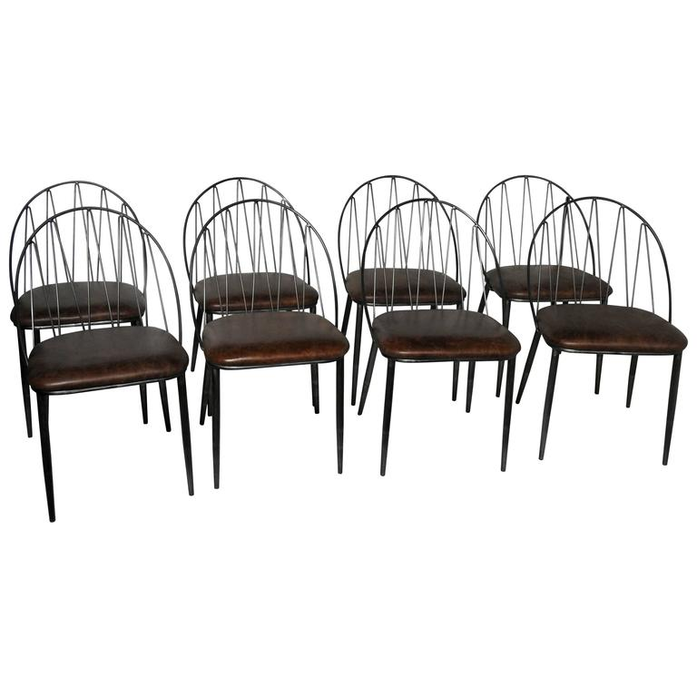Set Of Eight Industrial Style Dining Chairs With Italian Leather Upholstery A