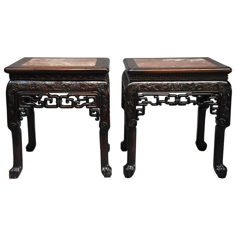 Late 19th Century Matched Pair of Square Chinese Pot Stands