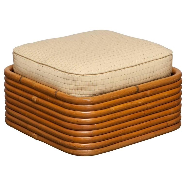 Stacked Rattan Ottoman by Paul Frankl 1